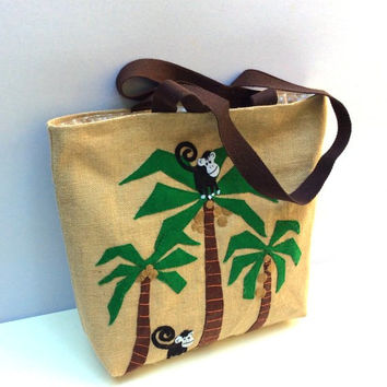 Funny monkeys hand applique jute tote bag, handmade Jute tote bag, summer beach tote bag, handmade tote bag, Casual Tote Bag