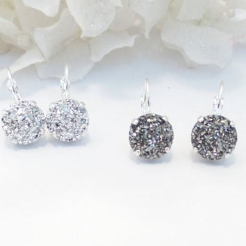 SWAROVSKI DRUZY EARRINGS, black or silver, faux druzy, lever backs designer inspired, bridal, bridesmaids,