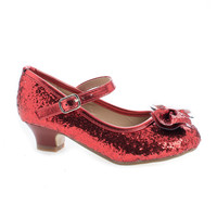 Quincy18 Red Metallic By Sully's, Children's Girl Chunky Glitter Rock Bow Mary Jane Heels
