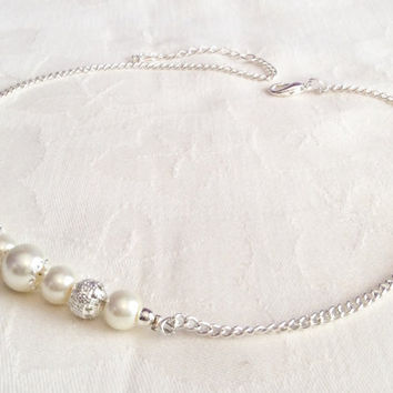Ivory Pearl Necklace Ivory Jewelry Bridesmaid Jewelry Wedding Ivory Necklace Custom Colours
