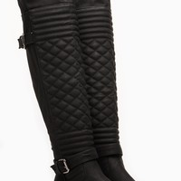 Wild Diva Quilted Front Faux Leather Knee High Boots @ Cicihot Boots Catalog:women's winter boots,leather thigh high boots,black platform knee high boots,over the knee boots,Go Go boots,cowgirl boots,gladiator boots,womens dress boots,skirt boots.