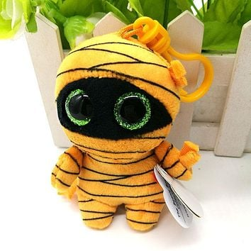 2017 New Ty Beanie Boos Plush Toy Mask Mummy Clip Small Pendant Cute Stuffed Doll Kids Birthday Gift Key Chain Bag Ornaments