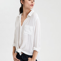 AE Tie-Front Buttondown Shirt, White