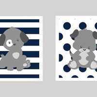 Cute Gray Puppies on Navy Stripes and Dots, CUSTOMIZE YOUR COLORS, 8x10 Prints, set of 2, nursery decor nursery print art baby room decor