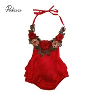 Floral Red Baby Girl Bodysuit
