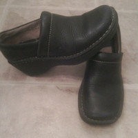 Born Women's black leather loafers/shoes/ mules/ slides  Size 6 1/2 Medium. Padded insoles/ Born quality construction/