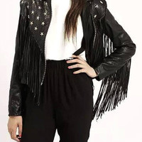Stud Leather Biker Jacket with Fringe