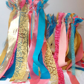 50 Bell Wands Wedding Send Off Fabric Streamers Reception Favor Princess Birthday Party Photo Prop Engagement Party Table Decor