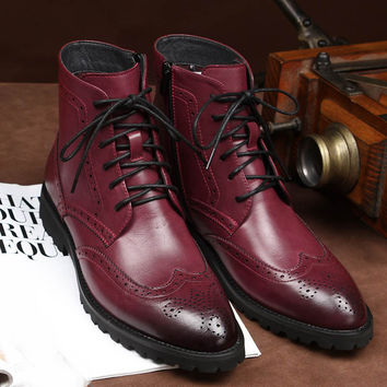 Brogue Business Retro Fashion Pointy Booties Wear Rub Skin Color Japanned Leather Carved Chukka Boots Cap Toe Men Shoes Winter