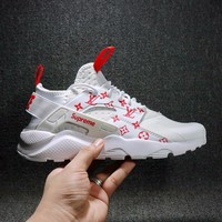 Sale LV x Supreme x Nike Air Huarache 4 Men Women Mesh Hurache Sport Running Shoes Casual Shoes Sneakers 819685-106