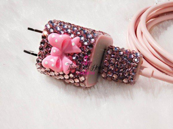 Pink Bling USB Wall Charger and Cable Power Adapter for Apple iPhone 4S 4 3GS iPod Touch