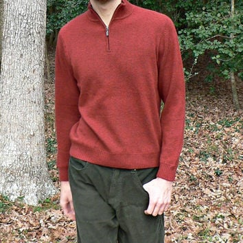 L.L. Bean 100% Cashmere Sweater - Rust Red - Half-Zip Collar - Pullover Style - Men's Size Small (S)