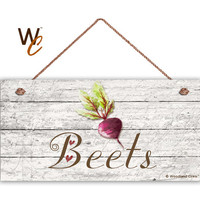 "Beets Sign, Garden Sign, Rustic Decor, Distressed Wood, Weatherproof, 5"" x 10"" Sign, Vegetable Sign, Gift For Gardener, Made To Order"