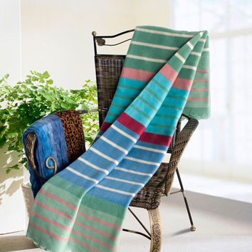 Multicolor Stripes Soft Coral Fleece Throw Blanket With Fringe in 59 by 79 inches