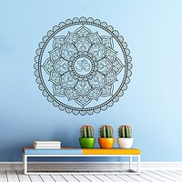 Wall Decal Vinyl Sticker Decals Art Home Decor Murals Decal Mandala Ornament Indian Geometric Moroccan Pattern Yoga Namaste Flower Lotus Flower Buddha Om Ganesh Bathroom Bedroom Dorm Decals AN23