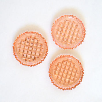 Vintage Orange Glass Coasters Set of Three
