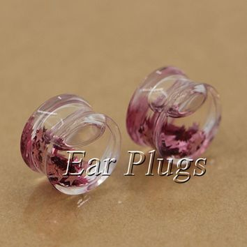 2pcs salmon stars glitters ear plug gauges transparent acrylic flesh tunnel liquid plugs body piercing jewelry PLP0006