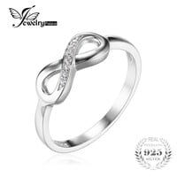 JewelryPalace Infinity Forever Love Anniversary Promise Ring For Women Genuine 925 Sterling Silver Fine Jewelry