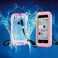 iPhone 5/5S/5C Waterproof Case, Kuteck Waterproof, Dust Proof, Snow Proof, Shock Proof Case with Touched Transparent Screen Protector, Waterproof Protection up to 20ft, Heavy Duty Protective Carrying Cover Case for iPhone 5/5S/5C (Light Pink)