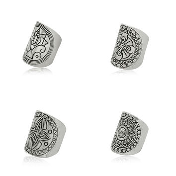 Boho Ring Set in Antiqued Tibetan Silver- Wide Tribal Rings For Women  Mandala Jewelry