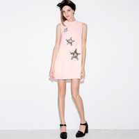 Star Embroidered Sleeveless Mini Dress
