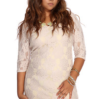 Tan Embroider Floral Lace Plus Size Party Dress
