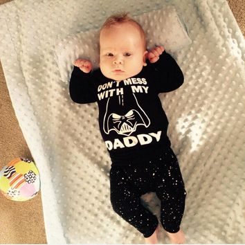 Star War 2 Pcs Newborn Kids Baby Girl Boy Clothing Set Infant Babies Long Sleeve T-shirt Tops+Pants Outfits Sets Clothes