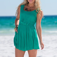 Pleat For More Romper, Emerald