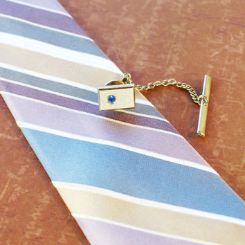Vintage Men's Jewelry, Tie Tack Pin, Blue Rhinestone, Gold Square, Designer SWANK, 1950s 1960s Mad Men Modernist, Wedding Groom Accessory