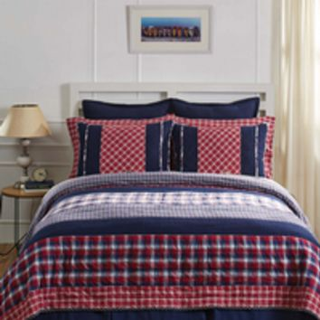 Carter - 8pc Queen - Super Set - Americana Patchwork - Quilt, 2 Standard Quilted Shams, 2 Pillow Cases, 2 Fabric Euro Shams & Bed Skirt! - Cherry Red, Navy & Snow White Plaids! - Spring 2017