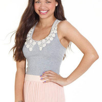 Stella Embellished Tanks Daisy Pearl Collar
