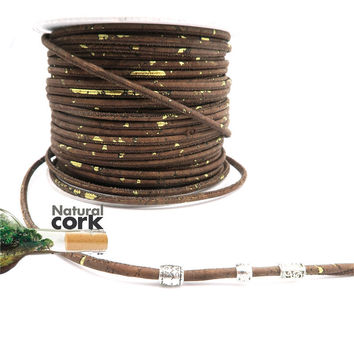 Portuguese cork Round 3mm, brown with golden natural materials Jewelry Findings supplies, eco-friendly materials Cor-98