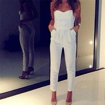 Women Sexy High Waist Slim Solid Pocket Long Jumpsuits White Black Strapless Jumpsuit Rompers Womens Jumpsuit Overalls Pant