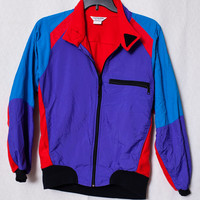 80's Fleece Lined Multicolored Windbreaker, Red, Blue and Purple 80's Windbreaker, Cannondale 80's Cycling Jacket