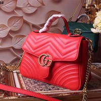 GUCCI WOMEN'S LEATHER GG MARMONT HANDBAG INCLINED SHOULDER BAG