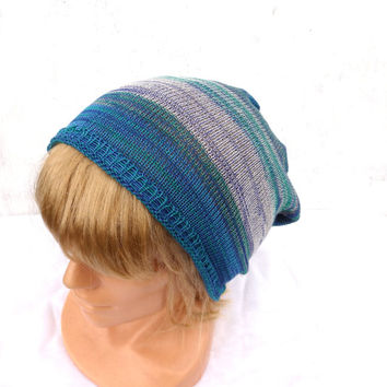 Knitted cotton hat knit colorful cap multicolor cloche knitting slouche knit tam striped hat handmade autumn hat women's beanie men's hat