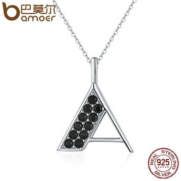 """Real 925 Sterling Silver Black AAA Zircon Letter """"A"""" Pendant Necklaces for Women Luxury Fashion Jewelry Collares SCN090"""