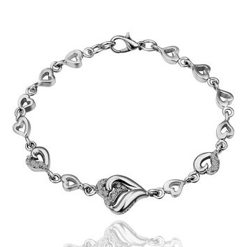 Heart Together White Gold Plated Bracelet