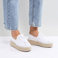 Lost Ink Wide Fit White Denim Flatform Espadrilles at asos.com