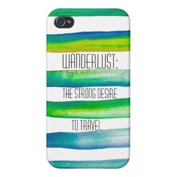 Wanderlust on Lined Watercolor iPhone 4 Case By Megaflora. www.zazzle.com/megaflora*