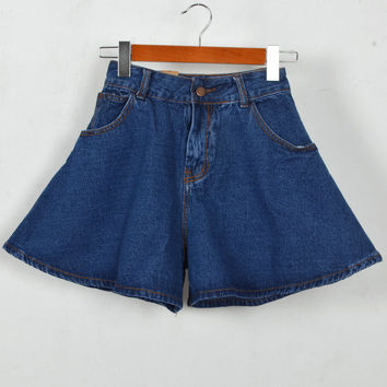 Summer Vintage High Rise Denim Dress Pants Shorts [6034435521]