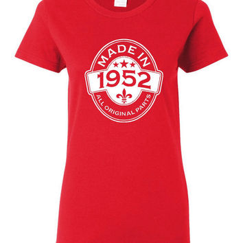 MADE in 1952 All Original Parts Birthday T Shirt Ladies Mens Vintage Birthday Shirt 63rd Birthday