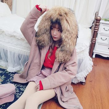 Princess sweet lolita coat Bobon21 super large hair collar detachable N3B down liner two piece corduroy and Thickened coat C1550