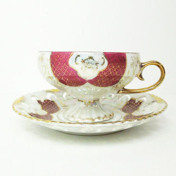 Vintage lusterware lustreware footed tea cup openwork saucer with ruby-red and gold design - Gold-trim pedestal cup and saucer set