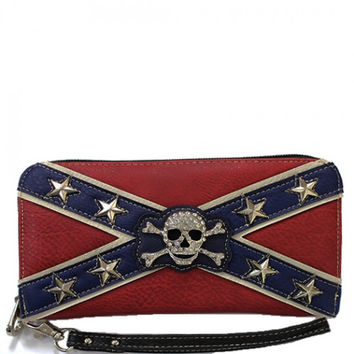 Rebel Flag Rhinestone Skull Wallet