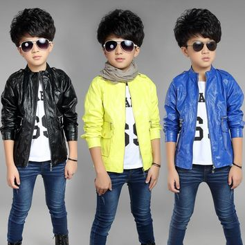 Children's clothing baby boy casual coat spring and autumn fashion baby clothes jacket kids PU leather jacket outerwear