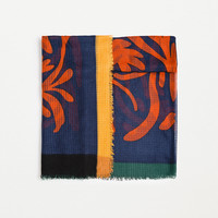Special price basic leaf print scarf