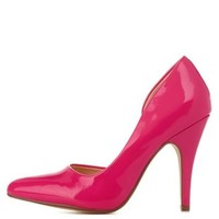 Hot Pink Patent Pointed Toe D'Orsay Pumps by Charlotte Russe