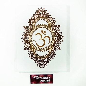 Ohm sign, Henna Canvas, Ohm, Yoga lovers, Mandala, Mehndi style, Aum, Mehndi decor, Rustic decor, Wall art henna, Spiritual style, Moroccan