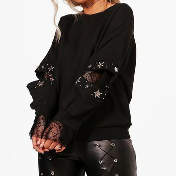 Plus Olivia Embellished And Lace Detail Sweat Top | Boohoo